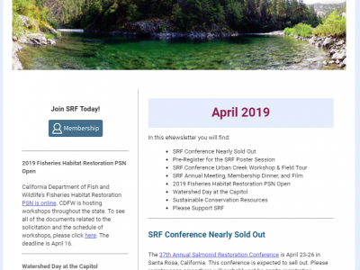 April 2019 News and Announcements | Salmonid Restoration