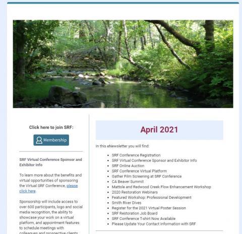 Screenshot of the April eNewsletter banner