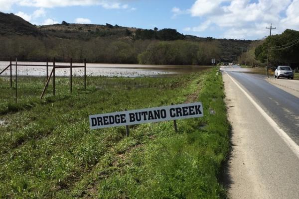 Butano Creek flooding Pescadero Creek Road