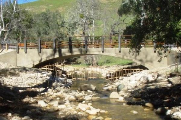 Quiota Creek Crossing 4, a recently completed fish passage project within the Santa Ynez River basin